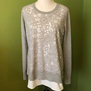 Simply Vera layered gray lace tunic sweater
